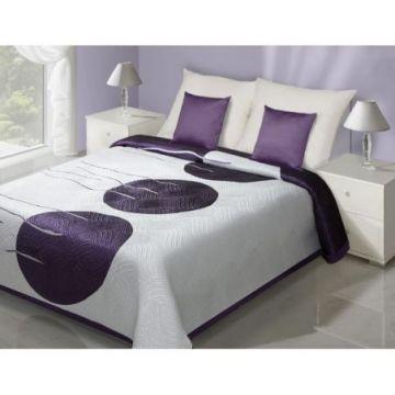 Narzuta 170x210 Eurofirany RITA biały+fiolet