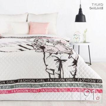 Narzuta 200x220 Design 91 D91 DORA biały+róż